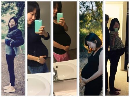 10개월에 거쳐 뿡뿡 늘어난 belly 사진