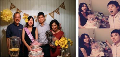 1.친정부모님과 찍은 사진 2.아공이 선물들과 함께